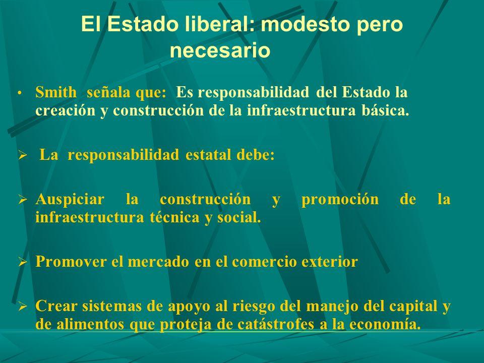 El Estado liberal: modesto pero necesario Smith señala que: Es responsabilidad del Estado la creación y construcción de la infraestructura básica. La