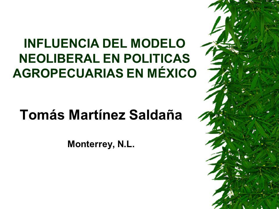 Contenido –Supuestos del modelo neoliberal –El Estado liberal : modesta pero necesario –La Liberalización Real del Estado Mexicano –Evaluación retrospectiva de la política neoliberal –La Agricultura Mexicana Hacia El Nuevo Milenio –Conclusiones