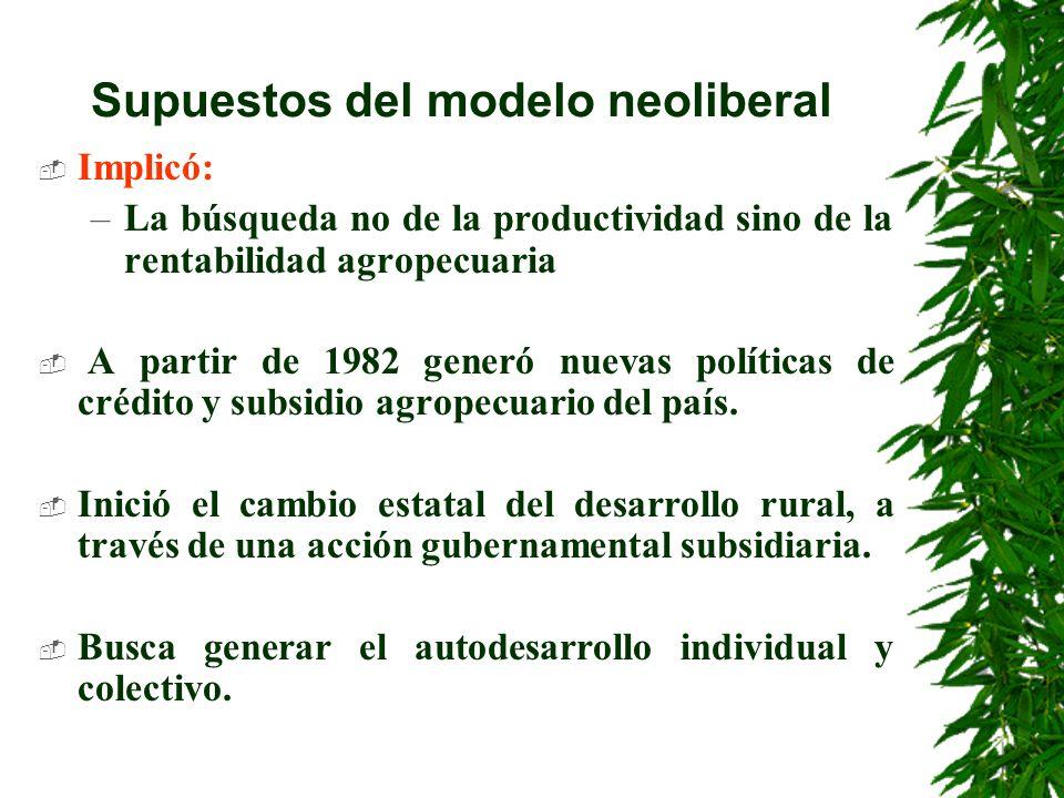 Evaluación retrospectiva de la política neoliberal Los modelos de desarrollo al agro llevados desde el modelo neoliberal no han sido promotores de la autogestión social y Cultural.