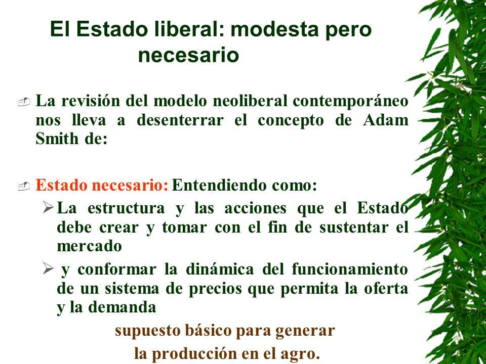 El Estado liberal: modesta pero necesario Indica que el Estado necesario tiene funciones básicas irrenunciables, impostergables e intransferibles que no puede dejar de realizar para el manejo de la economía liberal.