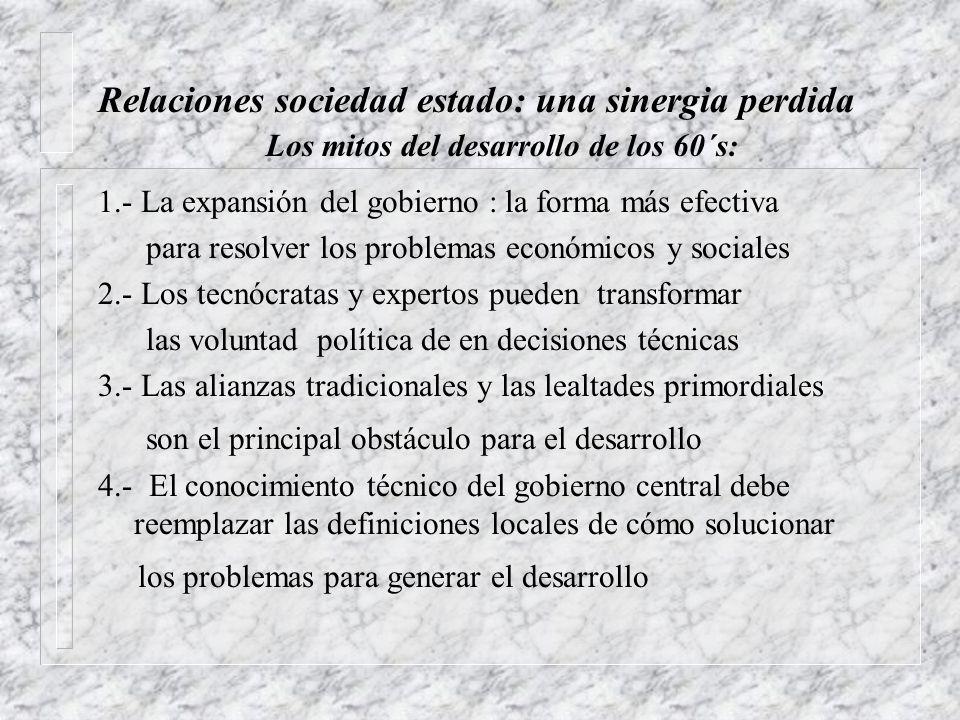 Relaciones sociedad estado: una sinergia perdida 1.- La expansión del gobierno : la forma más efectiva para resolver los problemas económicos y social