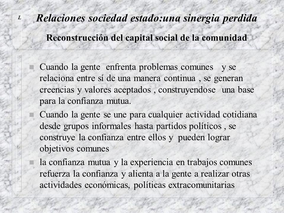 Relaciones sociedad estado:una sinergia perdida Reconstrucción del capital social de la comunidad n Cuando la gente enfrenta problemas comunes y se re