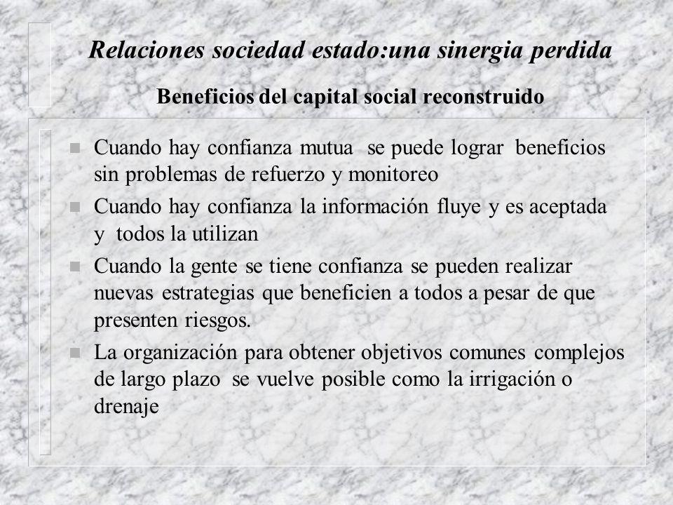 Relaciones sociedad estado:una sinergia perdida Beneficios del capital social reconstruido n Cuando hay confianza mutua se puede lograr beneficios sin