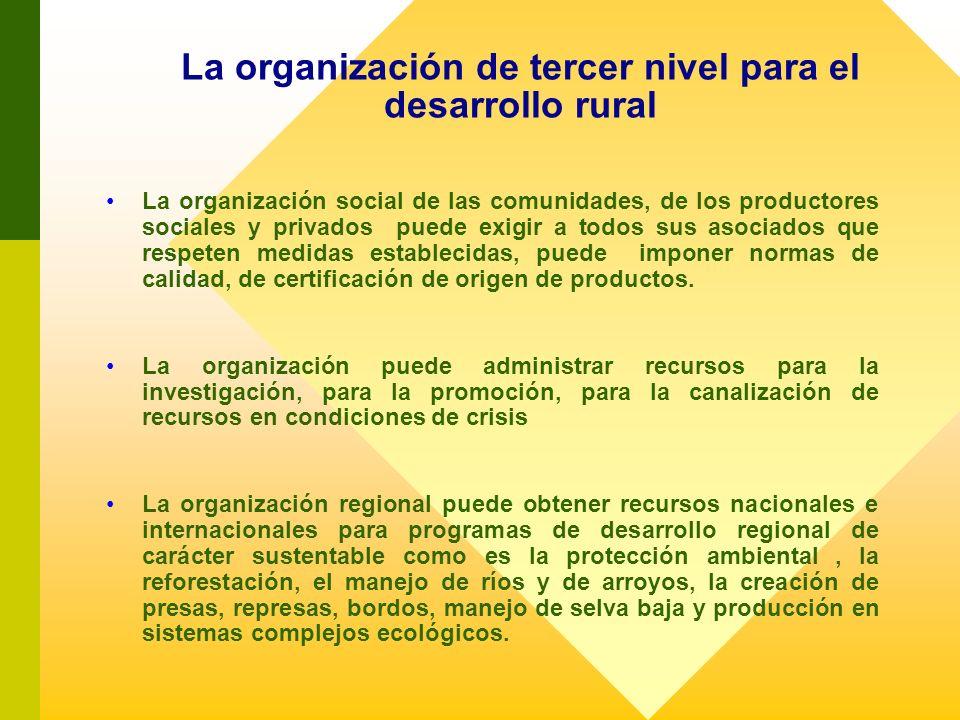 La organización de tercer nivel para el desarrollo rural La organización social de las comunidades, de los productores sociales y privados puede exigi