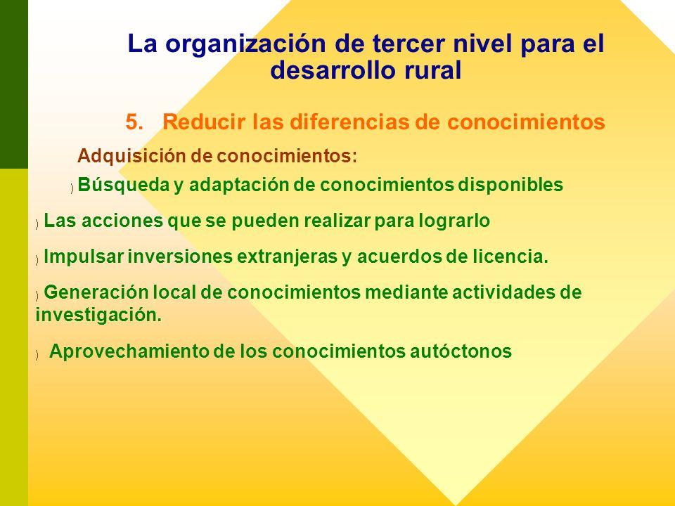 La organización de tercer nivel para el desarrollo rural 5. Reducir las diferencias de conocimientos Adquisición de conocimientos: ) ) Búsqueda y adap