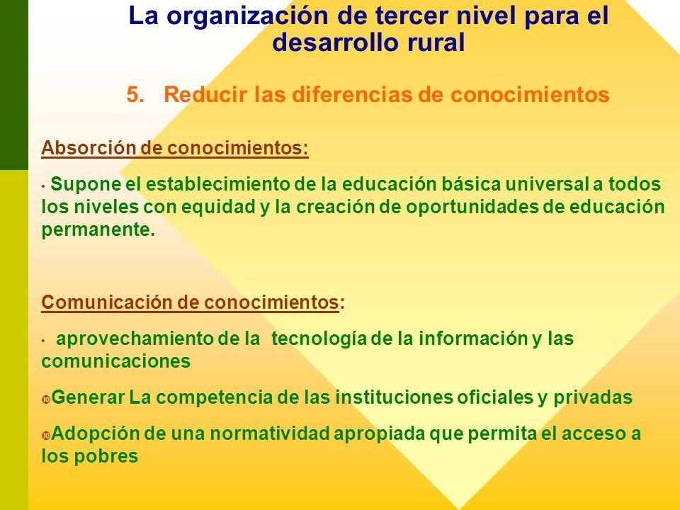 La organización de tercer nivel para el desarrollo rural 5. Reducir las diferencias de conocimientos Absorción de conocimientos: Supone el establecimi