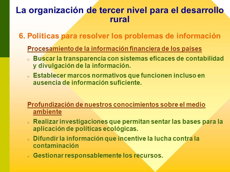 La organización de tercer nivel para el desarrollo rural 6. Politicas para resolver los problemas de información Procesamiento de la información finan