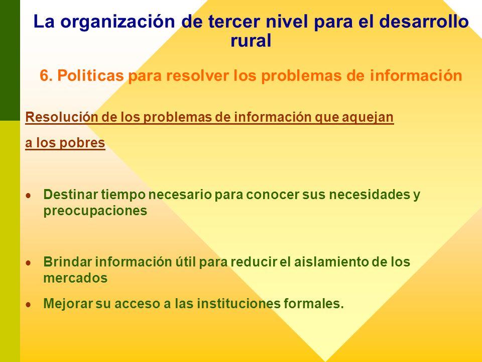 La organización de tercer nivel para el desarrollo rural 6. Politicas para resolver los problemas de información Resolución de los problemas de inform