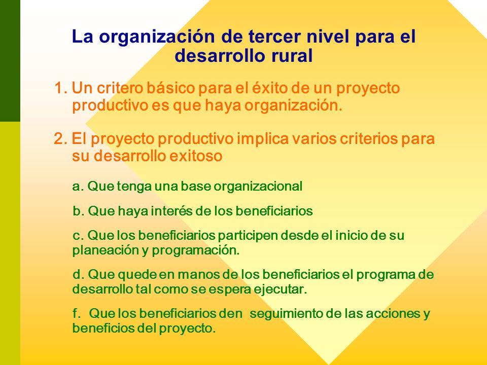 La organización de tercer nivel para el desarrollo rural 1. Un critero básico para el éxito de un proyecto productivo es que haya organización. 2. El