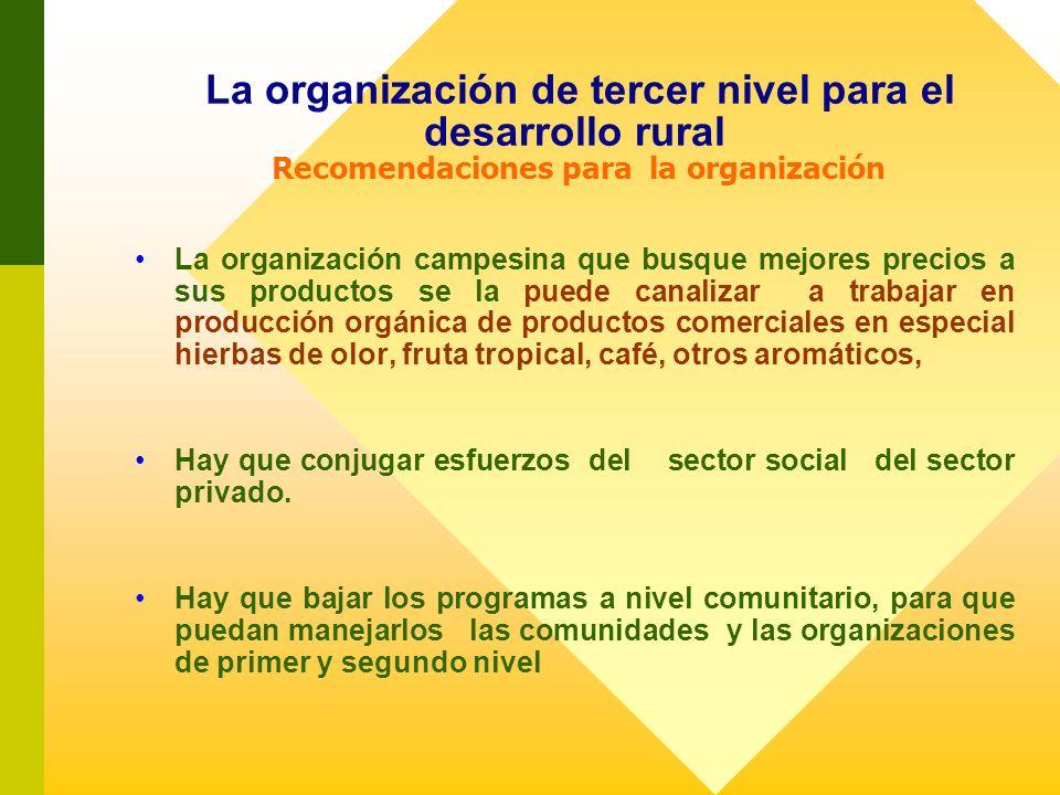 La organización de tercer nivel para el desarrollo rural Recomendaciones para la organización La organización campesina que busque mejores precios a s