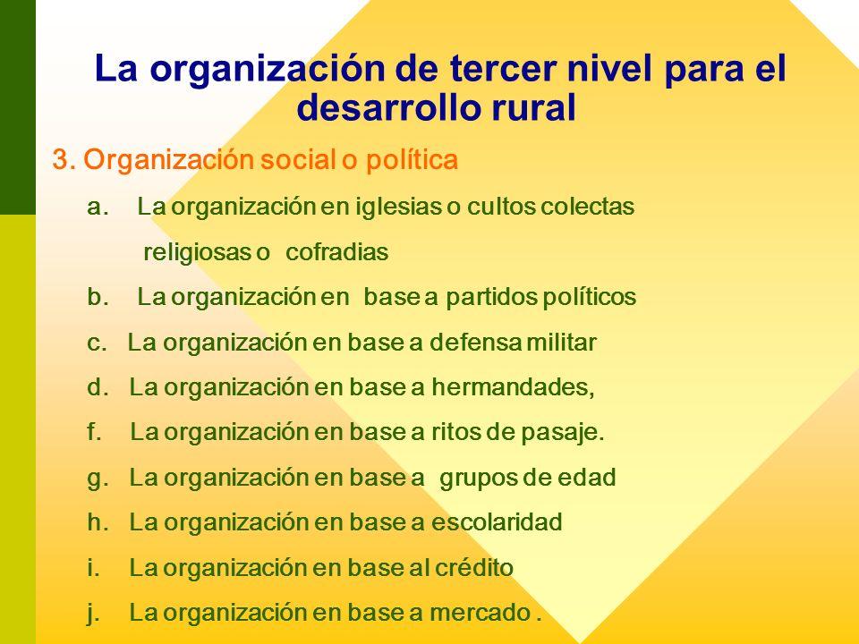 La organización de tercer nivel para el desarrollo rural 3. Organización social o política a. La organización en iglesias o cultos colectas religiosas