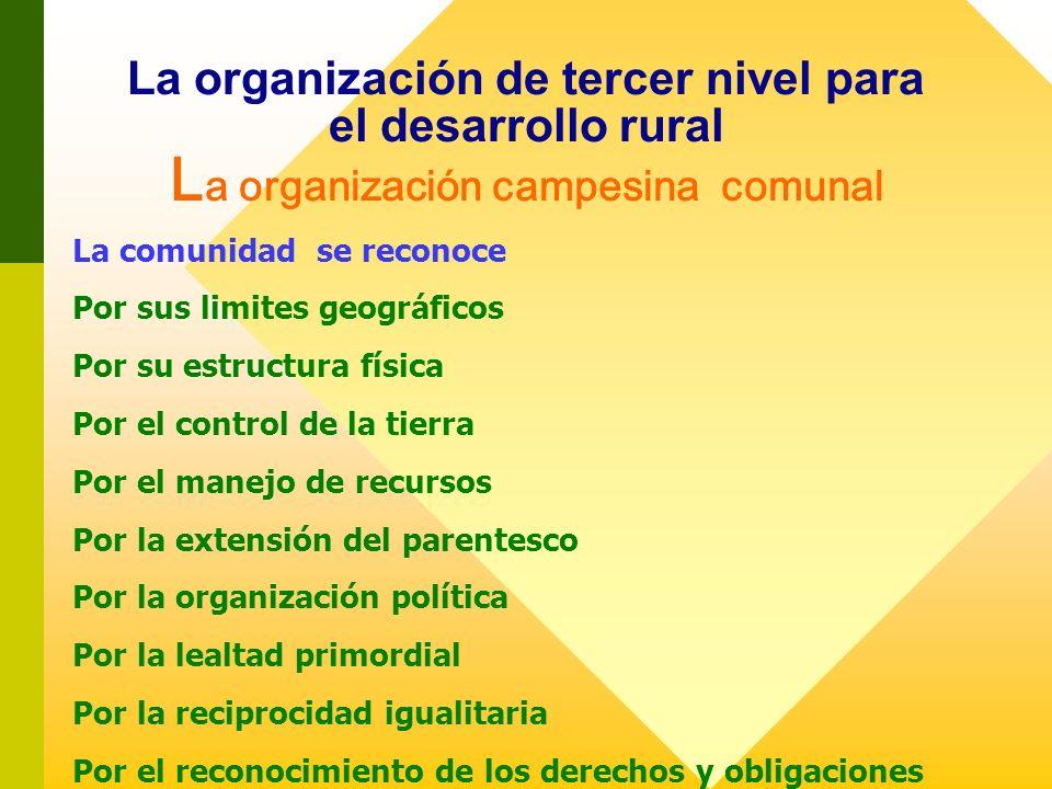 La organización de tercer nivel para el desarrollo rural L a organización campesina comunal La comunidad se reconoce Por sus limites geográficos Por s