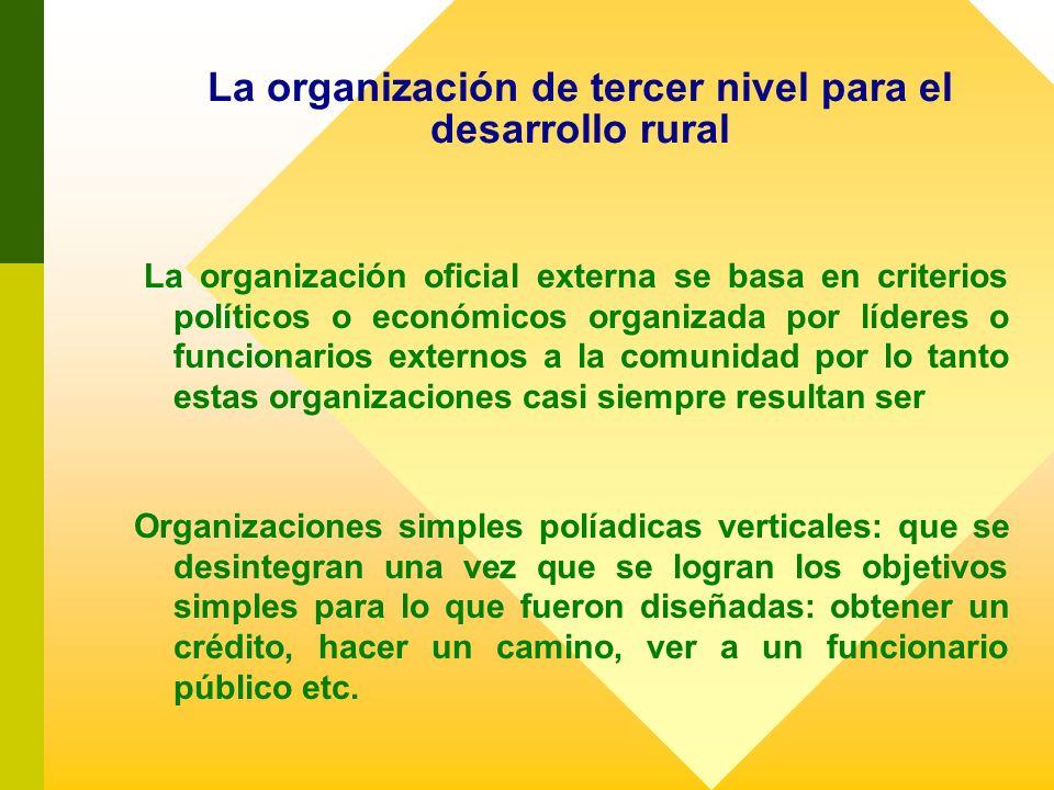 La organización oficial externa se basa en criterios políticos o económicos organizada por líderes o funcionarios externos a la comunidad por lo tanto