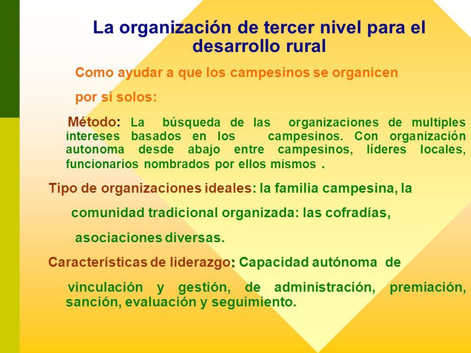 La organización de tercer nivel para el desarrollo rural Como ayudar a que los campesinos se organicen por si solos: Método: La búsqueda de las organi