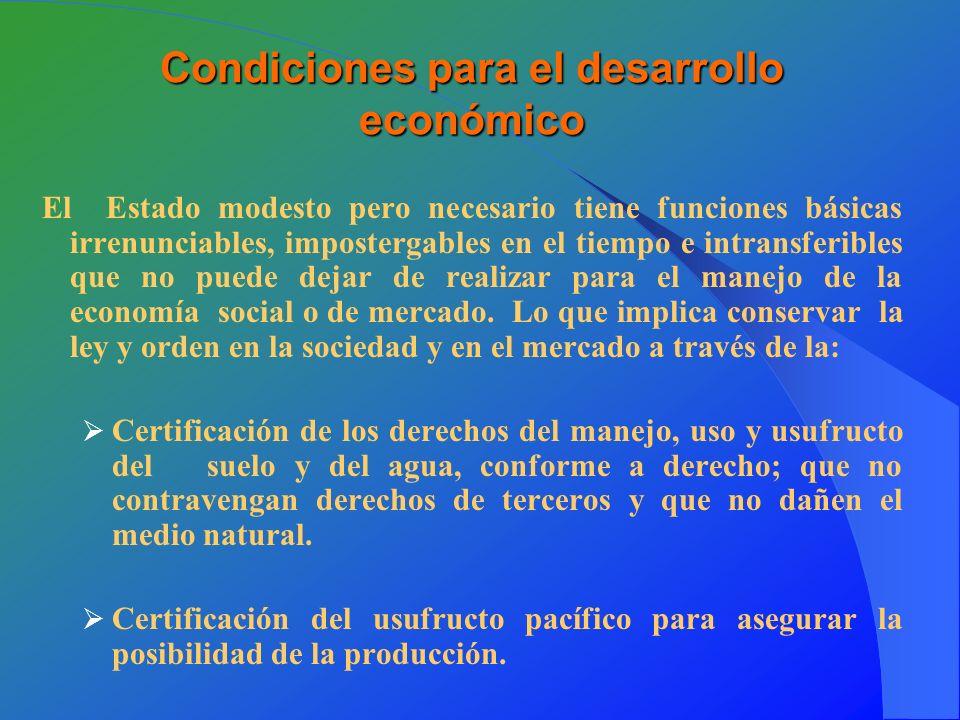 Condiciones para el desarrollo económico El Estado modesto pero necesario tiene funciones básicas irrenunciables, impostergables en el tiempo e intransferibles que no puede dejar de realizar para el manejo de la economía social o de mercado.