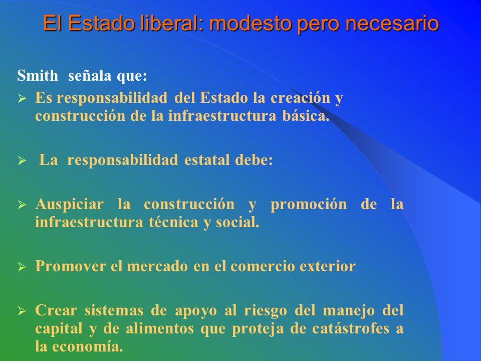 El Estado liberal: modesto pero necesario Smith señala que: Es responsabilidad del Estado la creación y construcción de la infraestructura básica.