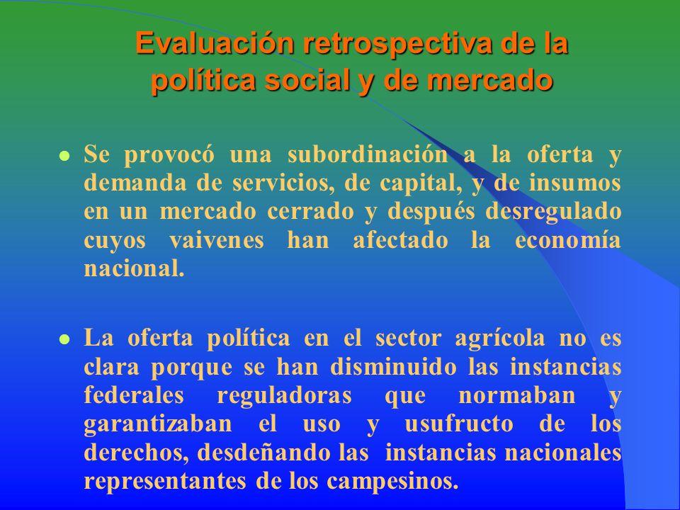 Evaluación retrospectiva de la política social y de mercado Se provocó una subordinación a la oferta y demanda de servicios, de capital, y de insumos en un mercado cerrado y después desregulado cuyos vaivenes han afectado la economía nacional.