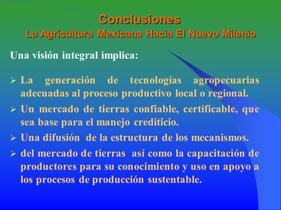 Conclusiones La Agricultura Mexicana Hacia El Nuevo Milenio Una visión integral implica: La generación de tecnologías agropecuarias adecuadas al proceso productivo local o regional.