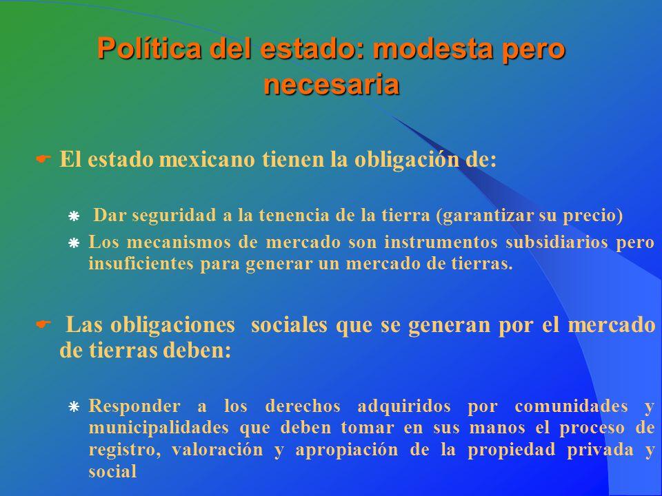Política del estado: modesta pero necesaria El estado mexicano tienen la obligación de: Dar seguridad a la tenencia de la tierra (garantizar su precio) Los mecanismos de mercado son instrumentos subsidiarios pero insuficientes para generar un mercado de tierras.
