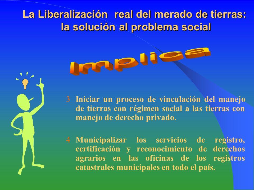 La Liberalización real del merado de tierras: la solución al problema social Iniciar un proceso de vinculación del manejo de tierras con régimen social a las tierras con manejo de derecho privado.