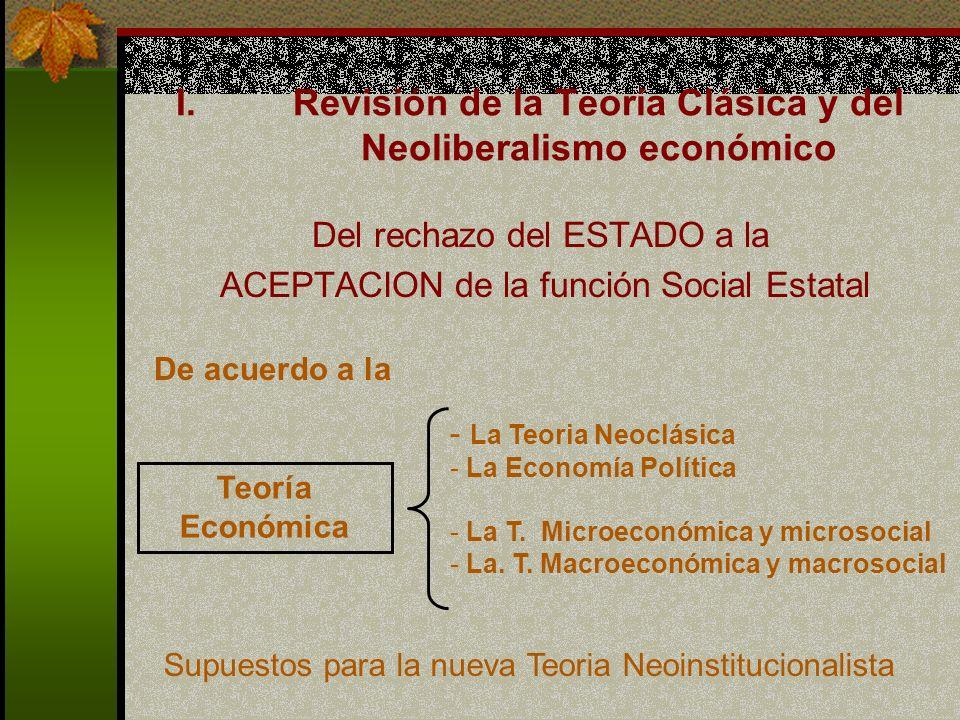 I.Revisión de la Teoría Clásica y del Neoliberalismo económico Del rechazo del ESTADO a la ACEPTACION de la función Social Estatal Teoría Económica - La Teoria Neoclásica - La Economía Política - La T.