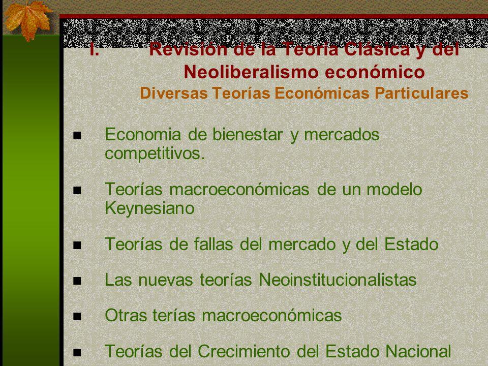 I.Revisión de la Teoría Clásica y del Neoliberalismo económico Diversas Teorías Económicas Particulares Economia de bienestar y mercados competitivos.