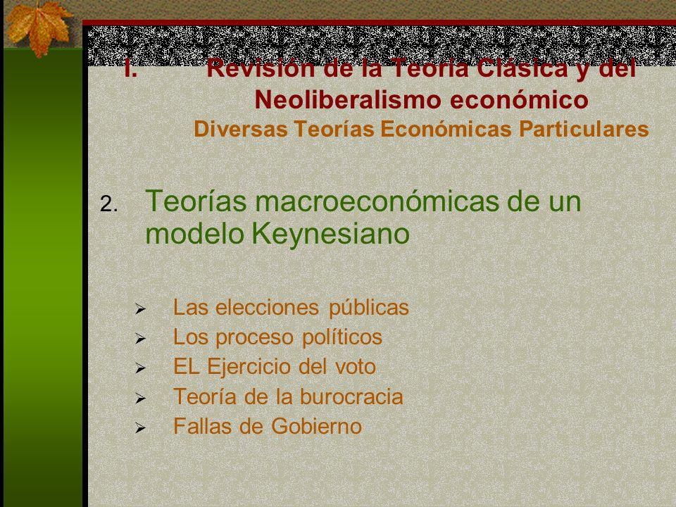 2. Teorías macroeconómicas de un modelo Keynesiano Las elecciones públicas Los proceso políticos EL Ejercicio del voto Teoría de la burocracia Fallas