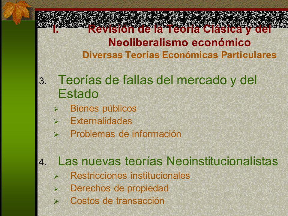 3. Teorías de fallas del mercado y del Estado Bienes públicos Externalidades Problemas de información 4. Las nuevas teorías Neoinstitucionalistas Rest