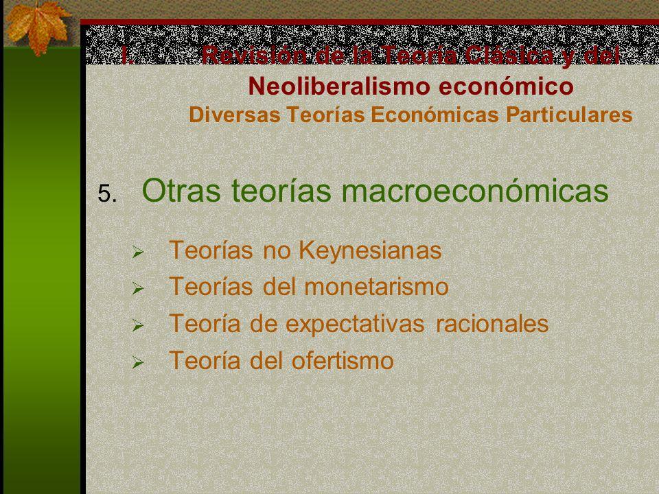 5. Otras teorías macroeconómicas Teorías no Keynesianas Teorías del monetarismo Teoría de expectativas racionales Teoría del ofertismo I.Revisión de l
