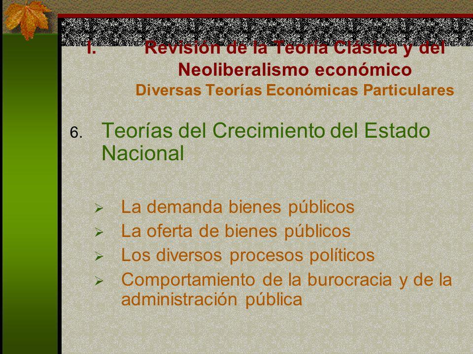 6. Teorías del Crecimiento del Estado Nacional La demanda bienes públicos La oferta de bienes públicos Los diversos procesos políticos Comportamiento