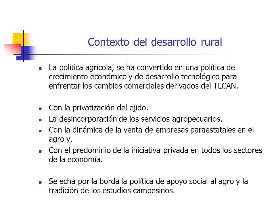 Contexto del desarrollo rural La política agrícola, se ha convertido en una política de crecimiento económico y de desarrollo tecnológico para enfrentar los cambios comerciales derivados del TLCAN.