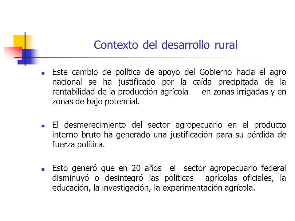Contexto del desarrollo rural Este cambio de política de apoyo del Gobierno hacia el agro nacional se ha justificado por la caída precipitada de la rentabilidad de la producción agrícola en zonas irrigadas y en zonas de bajo potencial.