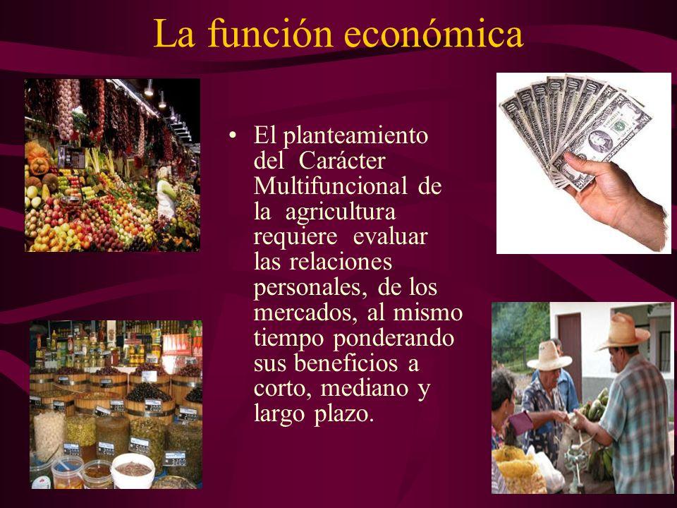 La función económica El planteamiento del Carácter Multifuncional de la agricultura requiere evaluar las relaciones personales, de los mercados, al mi