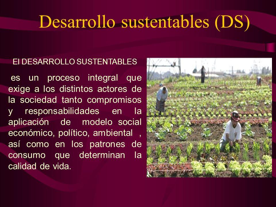 El DESARROLLO SUSTENTABLES es un proceso integral que exige a los distintos actores de la sociedad tanto compromisos y responsabilidades en la aplicac