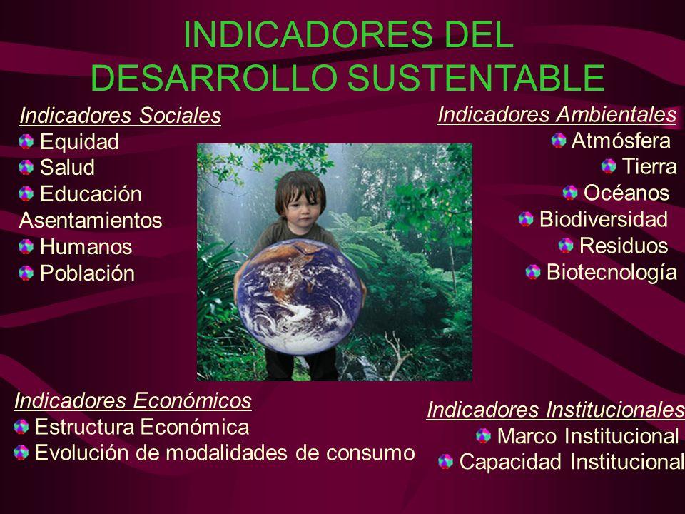 INDICADORES DEL DESARROLLO SUSTENTABLE Indicadores Sociales Equidad Salud Educación Asentamientos Humanos Población Indicadores Económicos Estructura