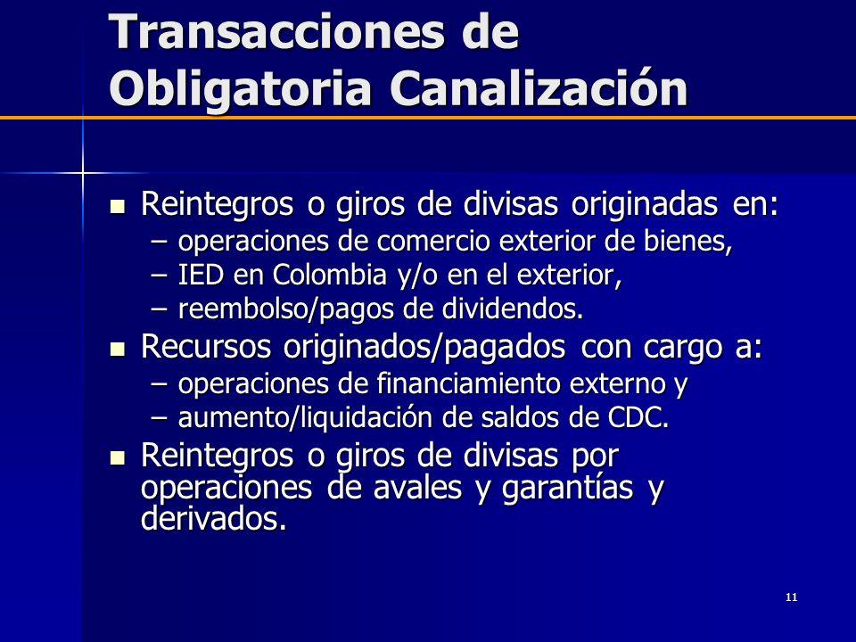 11 Transacciones de Obligatoria Canalización Reintegros o giros de divisas originadas en: Reintegros o giros de divisas originadas en: –operaciones de