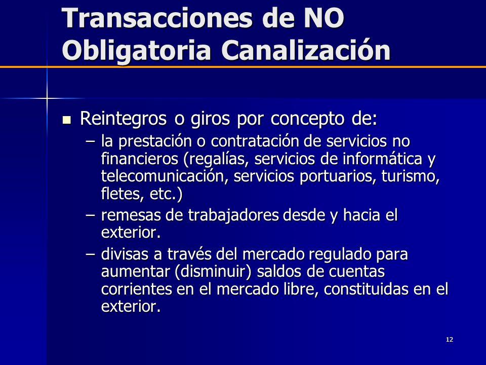 12 Transacciones de NO Obligatoria Canalización Reintegros o giros por concepto de: Reintegros o giros por concepto de: –la prestación o contratación