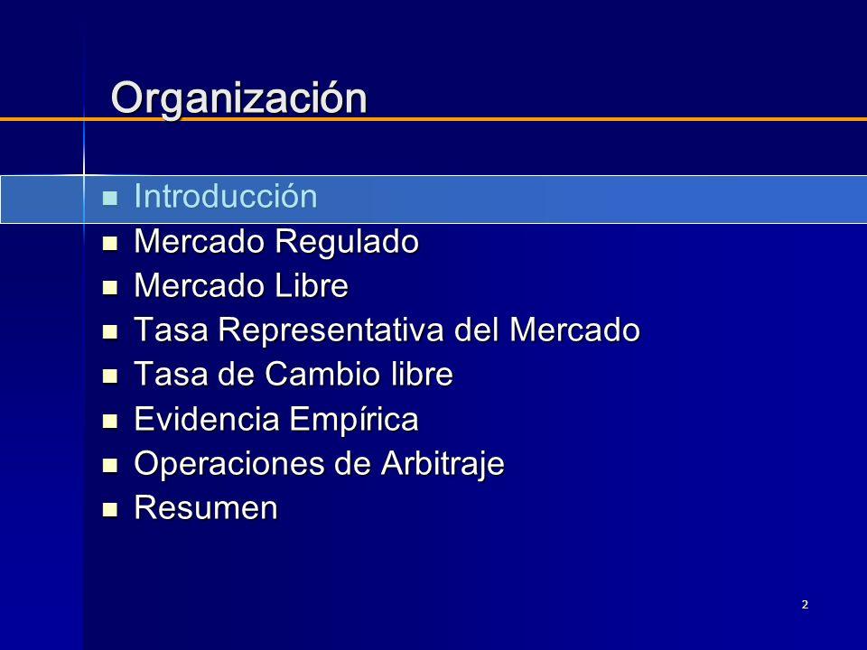 3 Introducción La legislación colombiana vigente permite a los residentes colombianos efectuar transacciones en divisas con no residentes a través de dos mecanismos: La legislación colombiana vigente permite a los residentes colombianos efectuar transacciones en divisas con no residentes a través de dos mecanismos: –Mercado cambiario regulado –Mercado libre El Banco de la República cuenta con información confiable del mercado regulado.