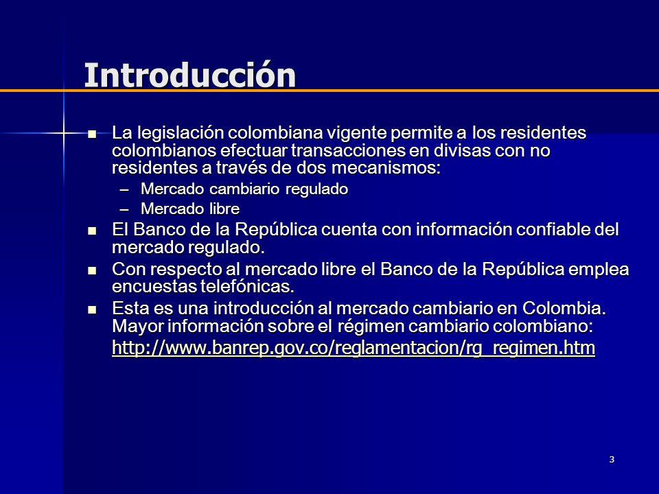 3 Introducción La legislación colombiana vigente permite a los residentes colombianos efectuar transacciones en divisas con no residentes a través de