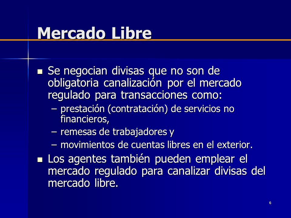 6 Mercado Libre Se negocian divisas que no son de obligatoria canalización por el mercado regulado para transacciones como: Se negocian divisas que no