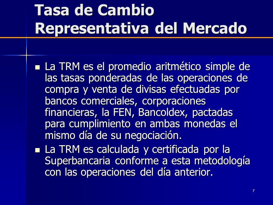 7 Tasa de Cambio Representativa del Mercado La TRM es el promedio aritmético simple de las tasas ponderadas de las operaciones de compra y venta de di