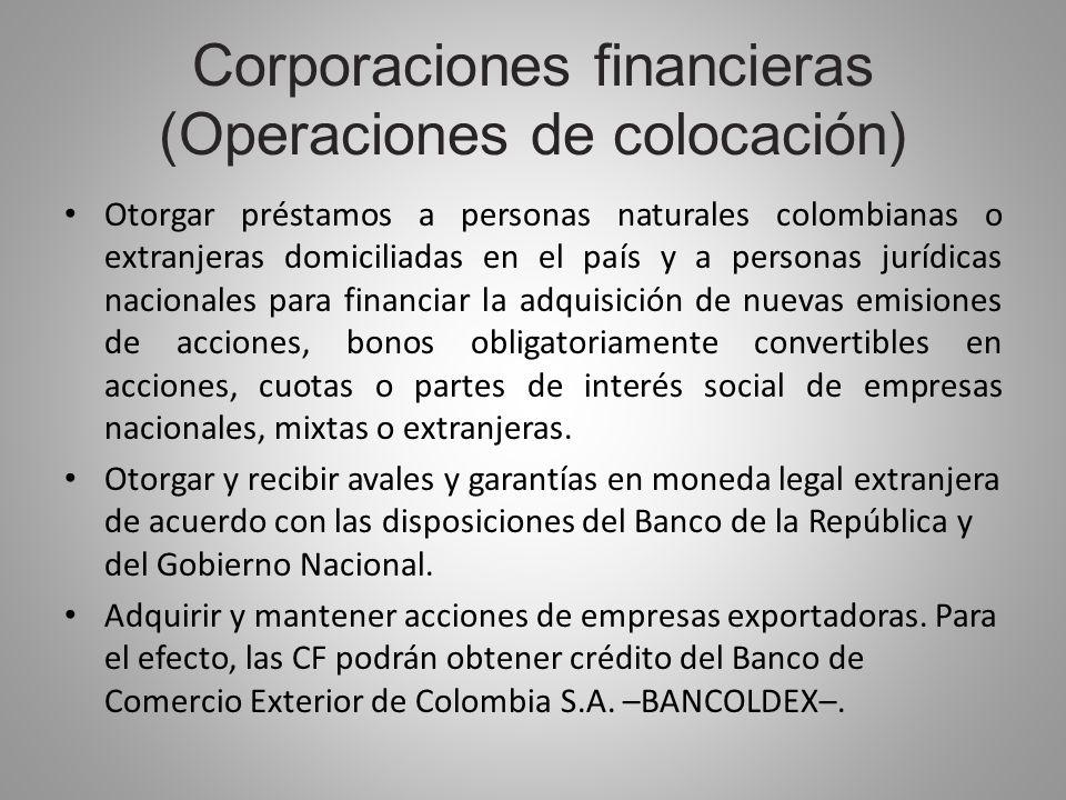 Corporaciones financieras (Operaciones de colocación) Otorgar préstamos a personas naturales colombianas o extranjeras domiciliadas en el país y a per
