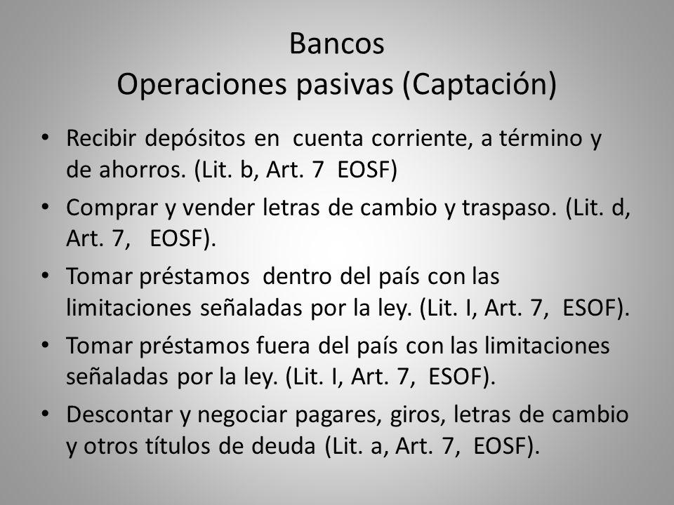 Bancos Operaciones pasivas (Captación) Recibir depósitos en cuenta corriente, a término y de ahorros. (Lit. b, Art. 7 EOSF) Comprar y vender letras de