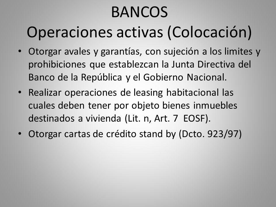 BANCOS Operaciones activas (Colocación) Otorgar avales y garantías, con sujeción a los limites y prohibiciones que establezcan la Junta Directiva del