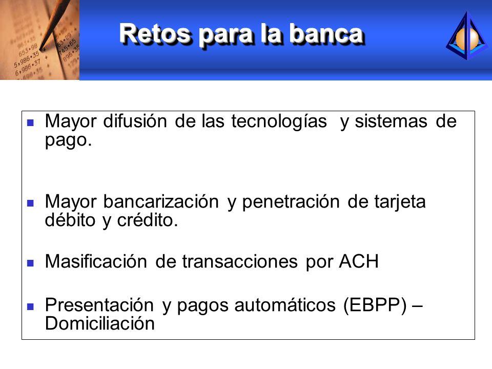 Mayor difusión de las tecnologías y sistemas de pago. Mayor bancarización y penetración de tarjeta débito y crédito. Masificación de transacciones por