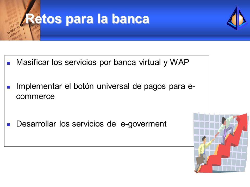 Masificar los servicios por banca virtual y WAP Implementar el botón universal de pagos para e- commerce Desarrollar los servicios de e-goverment Reto