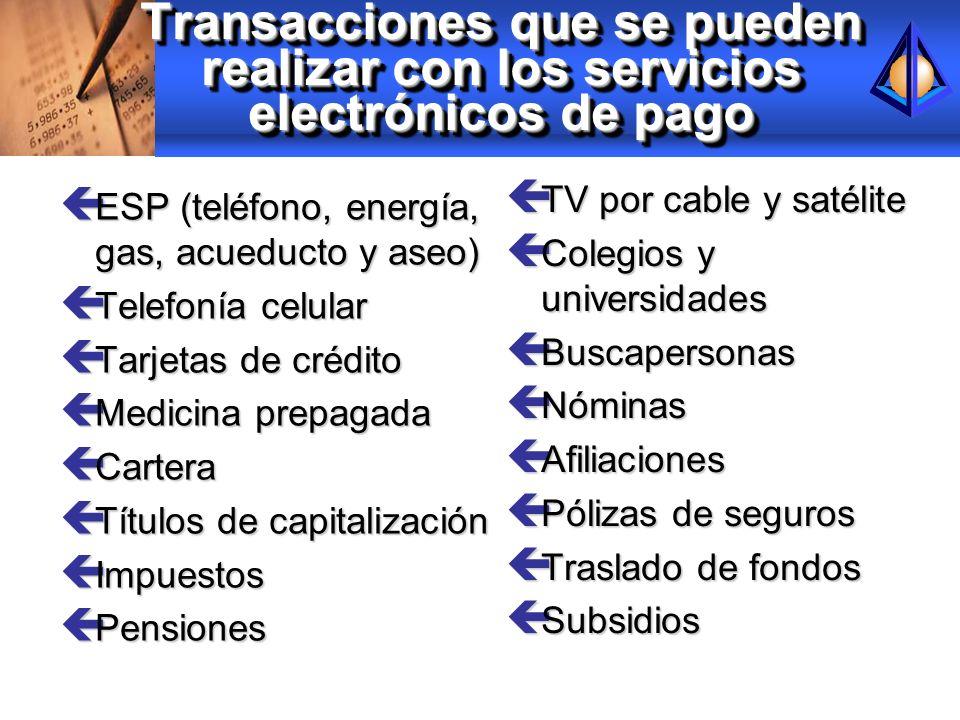 Transacciones que se pueden realizar con los servicios electrónicos de pago ç ESP (teléfono, energía, gas, acueducto y aseo) ç Telefonía celular ç Tar