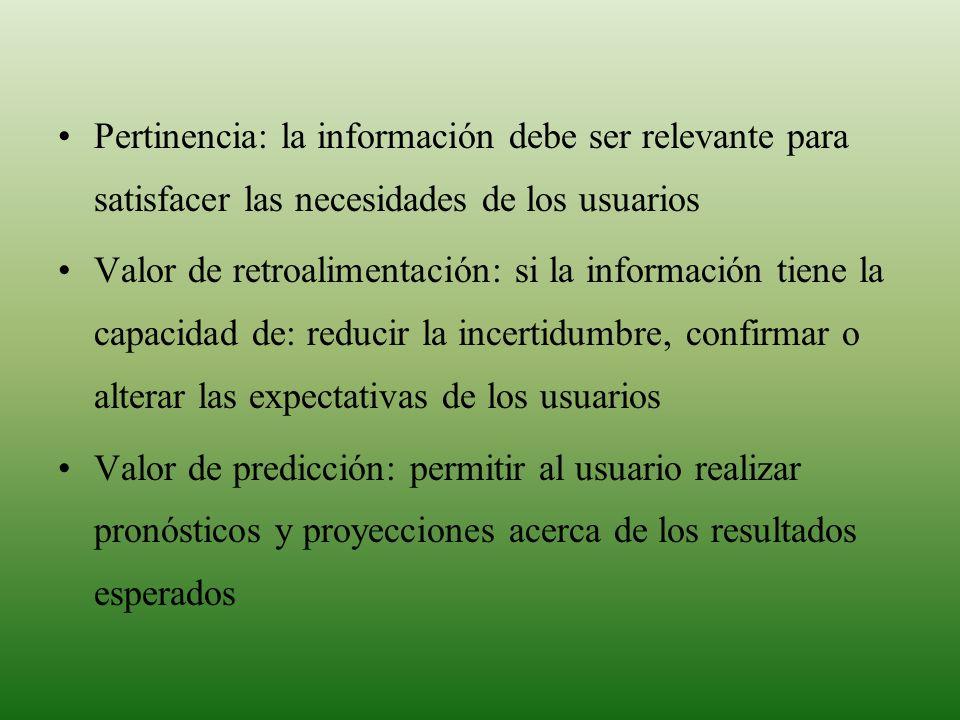 Pertinencia: la información debe ser relevante para satisfacer las necesidades de los usuarios Valor de retroalimentación: si la información tiene la