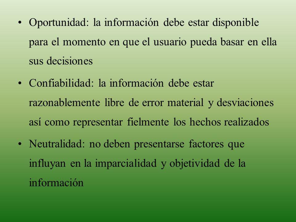 Oportunidad: la información debe estar disponible para el momento en que el usuario pueda basar en ella sus decisiones Confiabilidad: la información d
