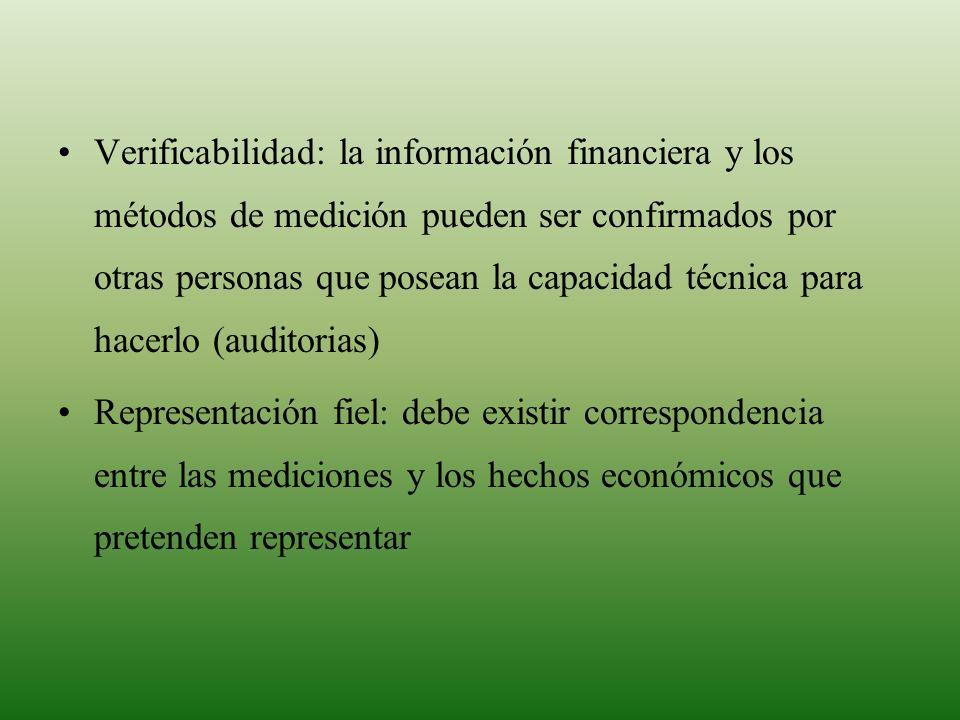 Verificabilidad: la información financiera y los métodos de medición pueden ser confirmados por otras personas que posean la capacidad técnica para ha